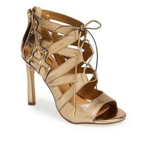 Dolce Vita Safia lace up heels size 7.5M Gold